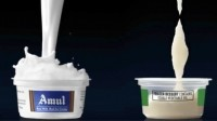 Part of the advert which compares Amul ice cream with a frozen dessert
